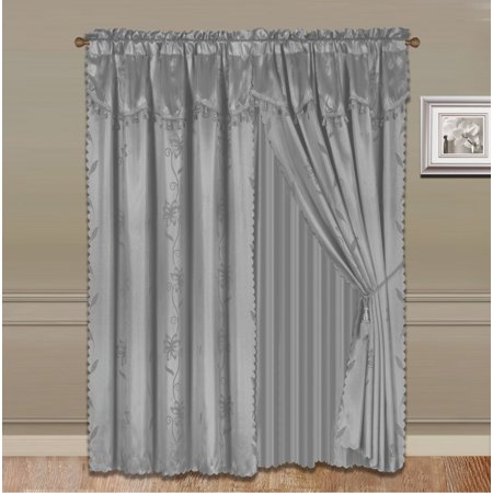 Floral Design Faux Silk (NADA SILVER GRAY COMPLETE WINDOW CURTAIN SET 2 panels faux silk  LEAF FLORAL 2 PANEL solid SHEER 2 attached VALANCE 2 TASSEL THICK HEAVY WINDOW CURTAIN drape 84