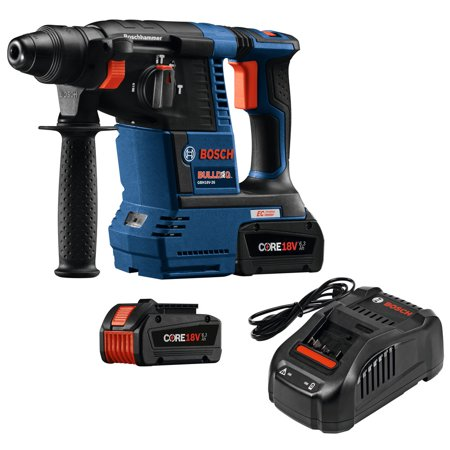 Factory-Reconditioned Bosch GBH18V-26K24-RT 6.3 Ah Cordless Lithium-Ion Brushless 1 in. SDS-Plus Bulldog Rotary Hammer Kit (Refurbished) 3/4 Sds Plus Cordless Rotary