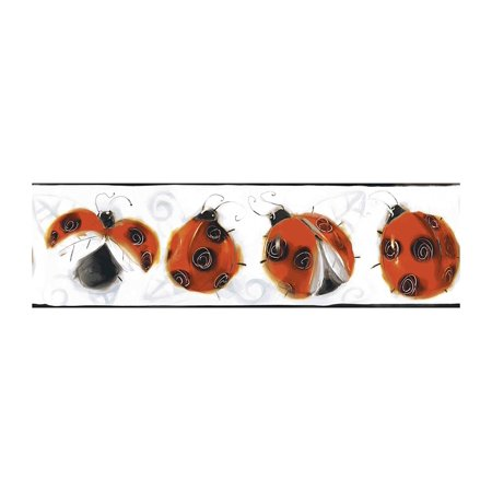 Jelly Bugs Border - BT2916BD Jelly Bug Ladybugs Border, Lady Bug Red/Black Onyby/Bright White/Silver Cloud Gray, Packaged and sold in single spools By York Wallcoverings From USA