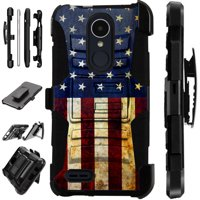 For LG Stylo 3 | LG Stylo 3 Plus Case Armor Hybrid Silicone Cover Stand LuxGuard Holster (US Flag Half)