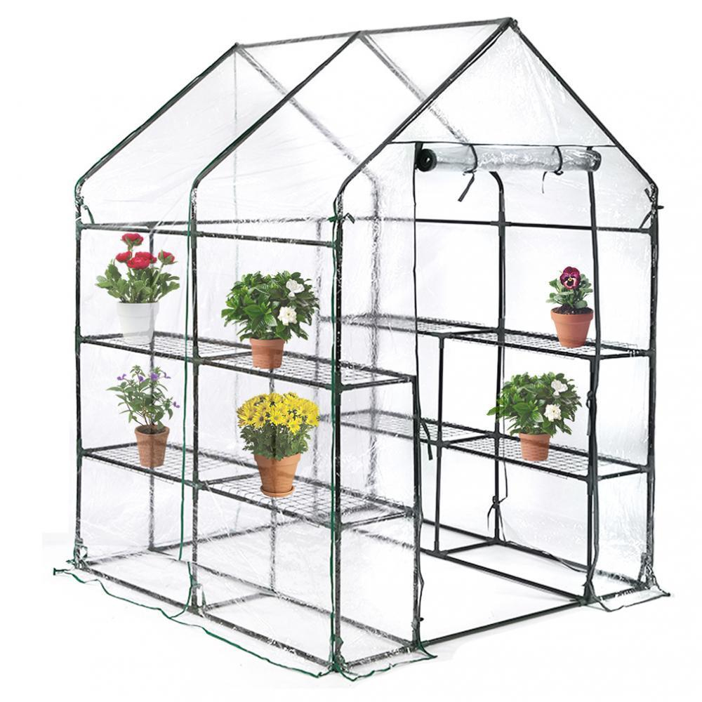 """Portable Mini Greenhouse Indoor Outdoor Plant Shelves Tomato Canopy Walk-In Garden Green House For Winter(L56.5""""W56.5""""H76"""")"""