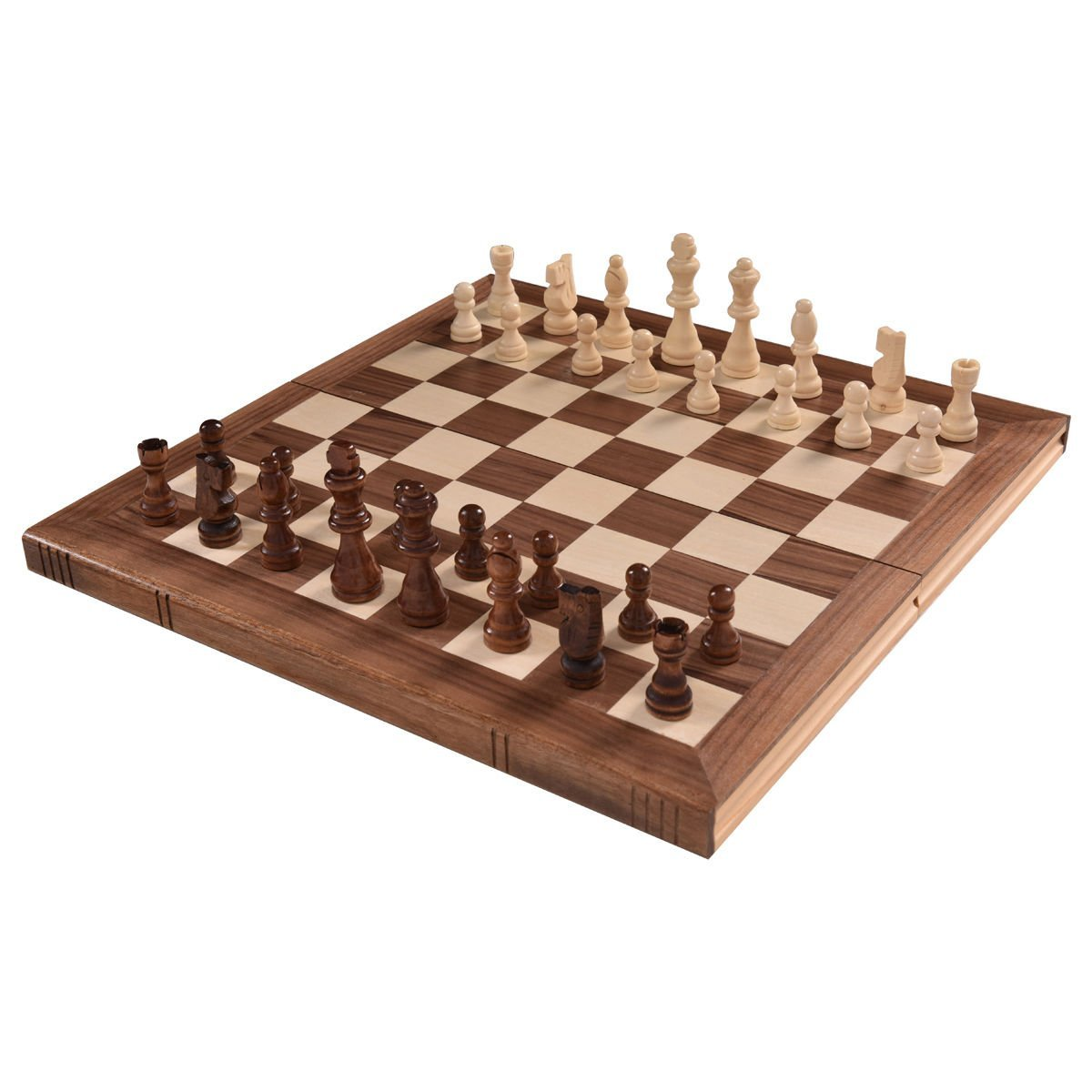 "15"" Standard Game Wooden Chess Set Pieces Magnet Portable..."