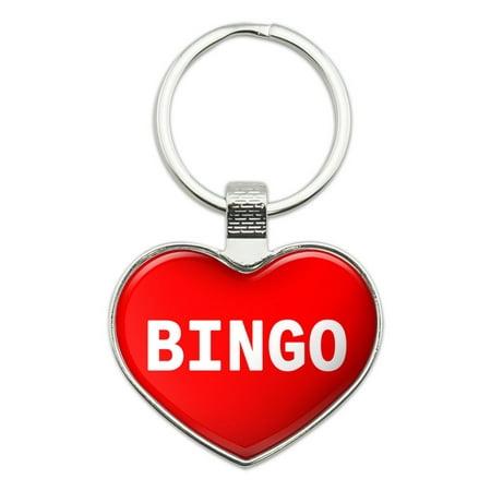 I Love Bingo Heart Metal Key Chain - I Love Bingo