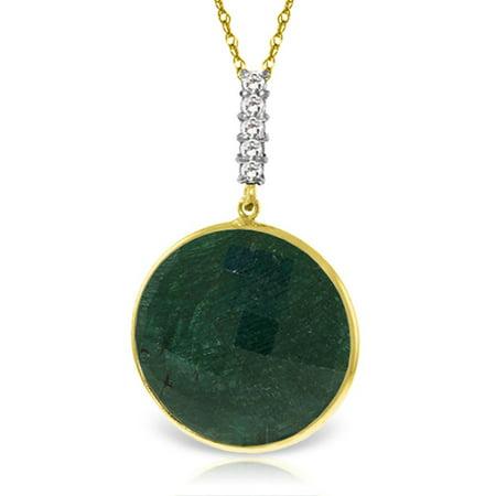 ALARRI 14K Solid Gold Necklace w/ Diamonds & Checkerboard Emerald Color Cut Corundum with 20 Inch Chain