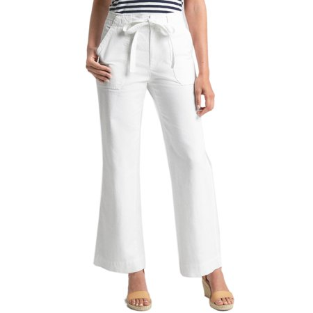 New  Gap Womens Optic White Belted 100% Cotton Wide Leg Casual Pants Sz 2 - Gap Wide Leg Pants