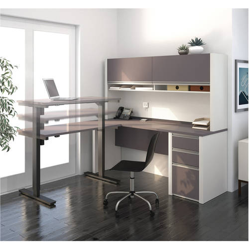 Bestar Connexion L-Desk with Hutch Including Electric Height Adjustable Table, Multiple Colors