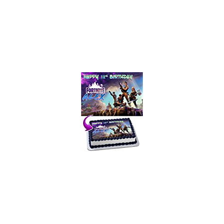 Fortnite Battle Royale Edible Personalized Birthday Cake Topper (Fishing Cake Toppers)