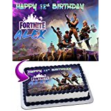 Fortnite Battle Royale Edible Cake Topper Personalized Birthday 1/4 Sheet Decoration Custom Sheet Party Birthday Sugar Frosting Transfer Fondant Image for cake