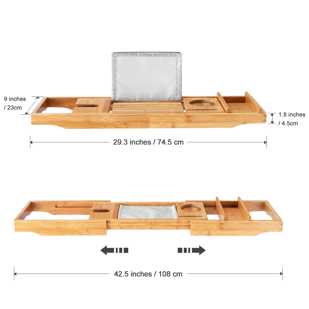 LANGRIA Luxury Bathtub Caddy Tray , Bamboo Detachable Sliding Tray ...