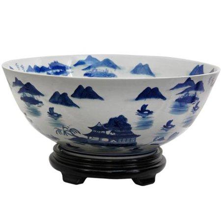 White Porcelain Bowl - Handmade Porcelain 14-inch Blue and White Landscape Bowl (China)