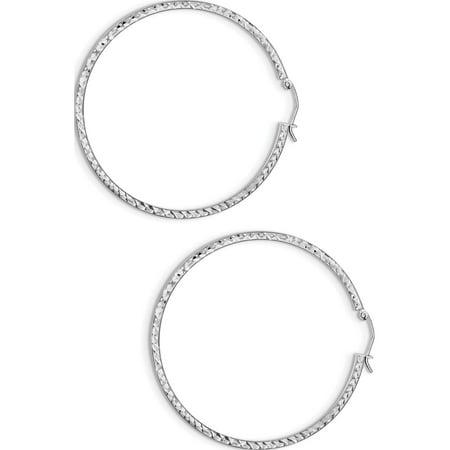 Argent 925 rhodi?es D / C 2x50mm Tube carr? Hoop (50x50mm) Boucles d'oreilles - image 1 de 2
