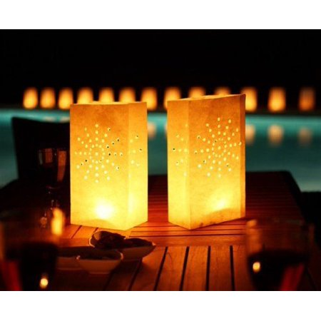 - Gift House International Candle Lantern Bags, White Fireworks