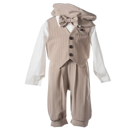 Tan Pinstripe Knicker Set with Matching Vest and Bow Tie](Pinstripe Vest)