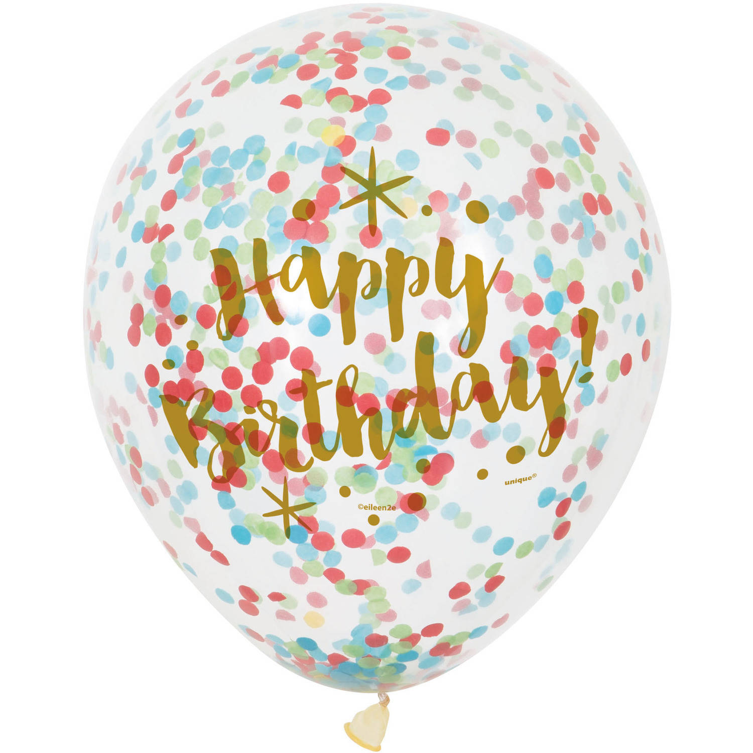 "12"" Glitzy Rainbow Happy Birthday Confetti Balloons, 6ct"