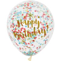 "12"" Glitzy Rainbow Happy Birthday Confetti Balloons, 6ct"