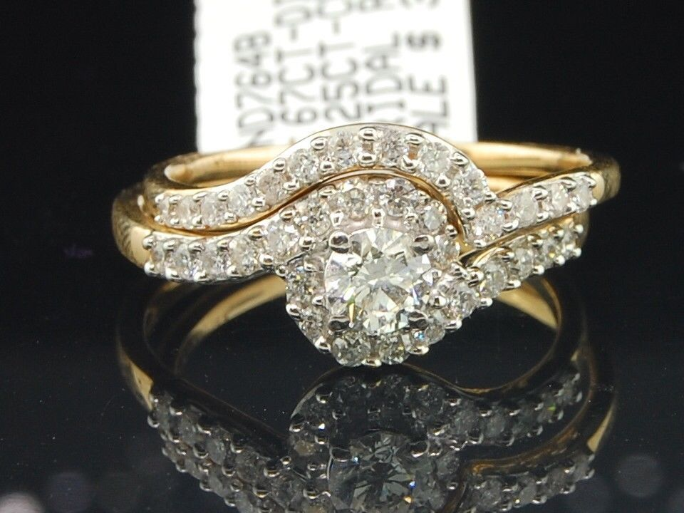 Ladies 14K Yellow Gold Diamond Engagement Ring Wedding Band Bridal Set 0.67 Ct. by Jewelry For Less