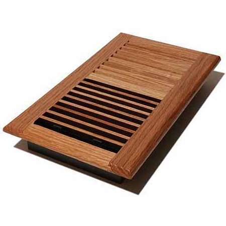 "Decor Grates Wood Louvered Register, Natural Oak, 6"" x 12"""