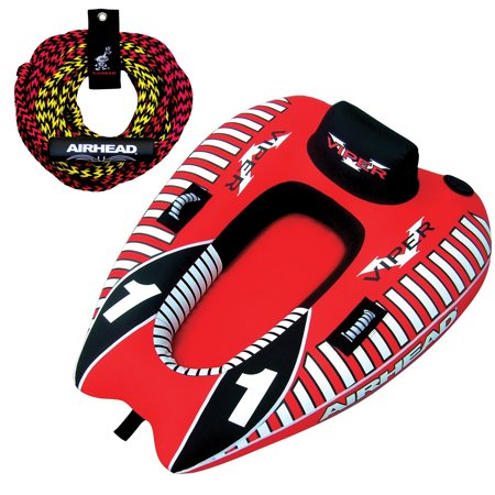 - AIRHEAD Viper 1 Single Rider Cockpit Inflatable Towable Tube w/ Tow Rope AHTR-22
