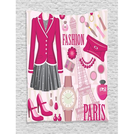Girly decor tapestry fashion theme in paris with outfits for C meo bedroom wall dress