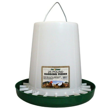 FREE RANGE PLASTIC HANGING POULTRY FEEDER GREEN/WHITE 25 POUND