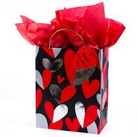 Hallmark Medium Valentine's Day Gift Bag with Tissue Paper (Red & Silver Heart)