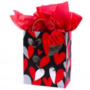 Gift wrap supplies walmart hallmark red and silver heart medium gift bag with tissue paper negle Gallery