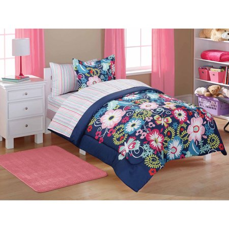 mainstays kids 39 bed in a bag navy floral. Black Bedroom Furniture Sets. Home Design Ideas