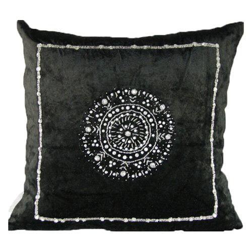 Design Accents Anai Medallion Pillow - Black - 20L x 20W in.