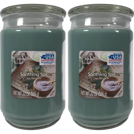 Mainstays 2-Pack Scented Candles, Soothing Spa, 20 oz