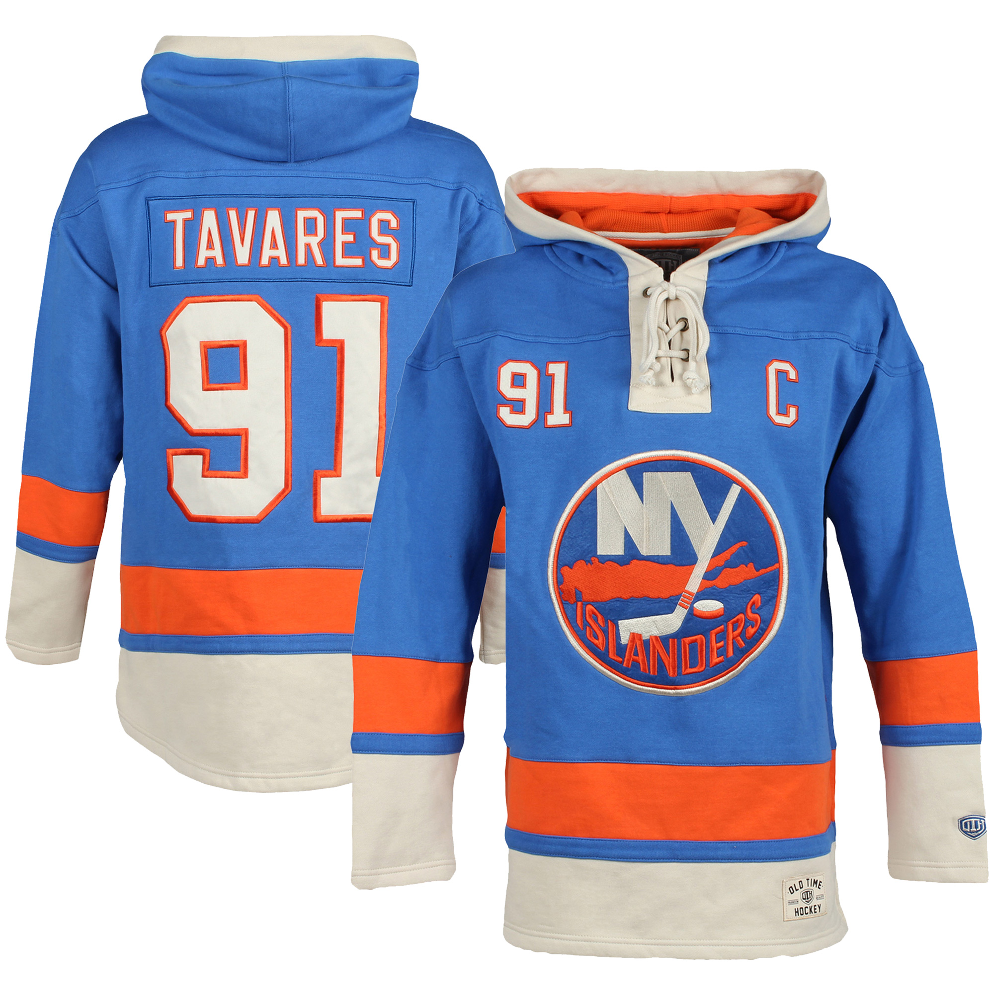 John Tavares New York Islanders Old Time Hockey Youth Current Player Lacer Name & Number Pullover Hoodie Royal by Old Time Hockey