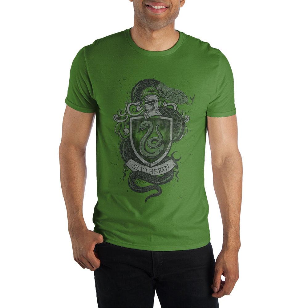 Harry Potter Hogwarts House of Slytherin Crest & Knight Helmet Men's Green Tee T-Shirt Shirt
