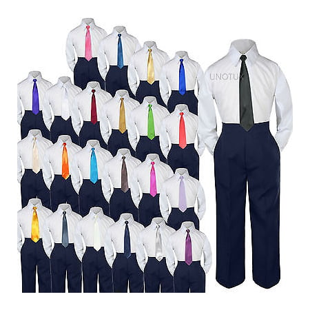 23 Color 3 pc Navy Set Necktie Shirt Pants Boys Baby Toddler Kid Formal Suit S-7 - Blue And Yellow Cheerleader Outfit
