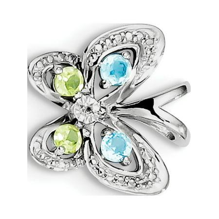 925 Sterling Silver Rhodium-plated Blue Topaz & Peridot & Diamond (15x14mm) Pendant / Charm - image 2 de 2