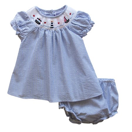 - Good Lad Newborn/Infant Girl Red Seersucker Smocked Dress with Nautical Embroideries