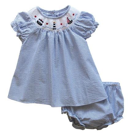 Little Girl Smocked Dresses (Good Lad Newborn/Infant Girl Red Seersucker Smocked Dress with Nautical)