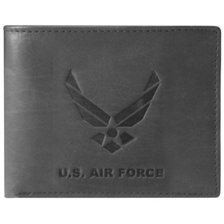 US Armed Forces Collection Mens Genuine Leather Wallets - Gift Boxed Bi-Fold and Tri-Fold Leather Wallets (US Airforce Bi-Fold, Black)