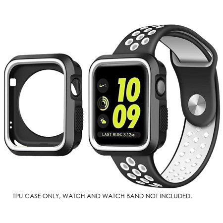 For Apple iWatch Series 2 / 3 42mm Case,Premium Duo Color Flexible Tough TPU Rubber Protective Case Cover/Shell for 42mm Apple Watch