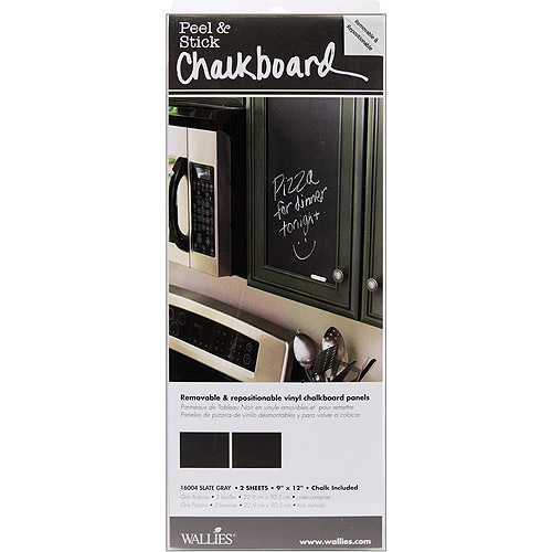 "McCall Wallies Peel & Stick Chalkboard Panels,  9""X12"", Slate Gray - 2/pkg"