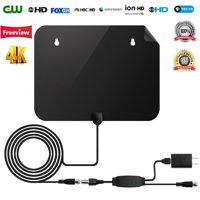 Newest 2019 HD Digital TV Antenna 50 Miles Range Support 4K 1080p & All Older TV's Indoor with Amplifier Signal Booster 13ft Coax Cable Power Adapter