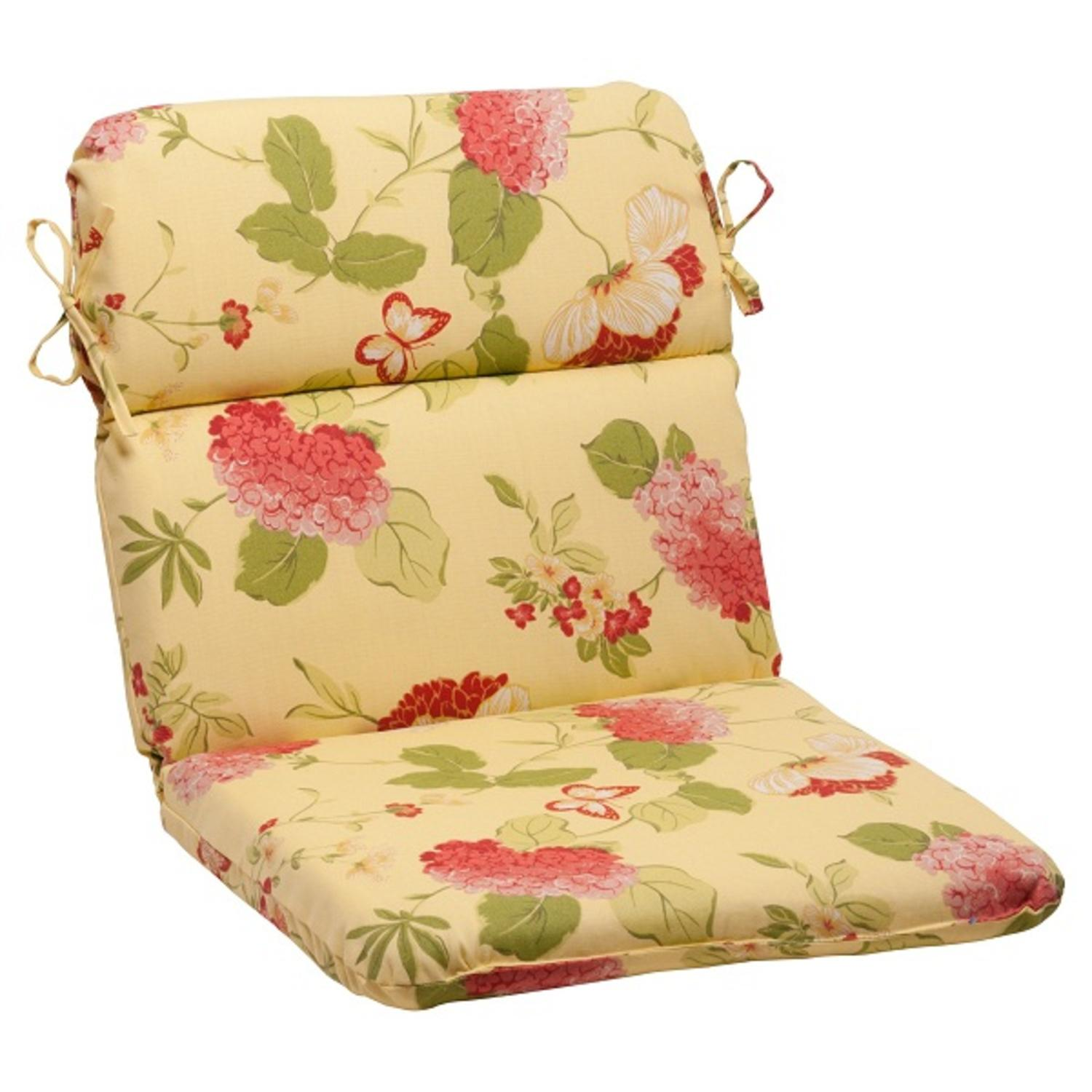 "40.5"" Solarium Bashful Blossom Outdoor Patio Furniture Rounded Chair Cushion"