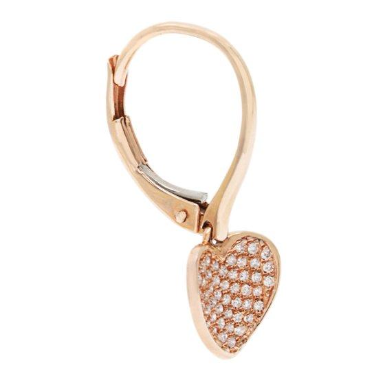 79d84e2e0 Overstock - 14k Rose Gold Heart Diamond Accent Leverback Earrings ...