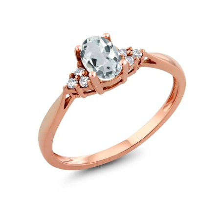 Women's 14K Rose Gold Sky Blue Aquamarine and Diamond Ring Aquamarine Blue Topaz Ring