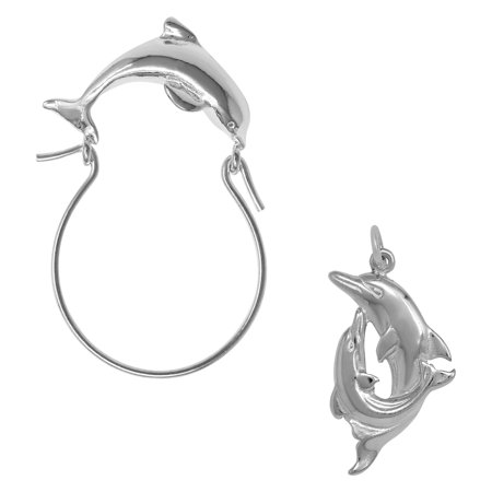 Sterling Silver Double Dolphin Charm on a Dolphin Charm Holder