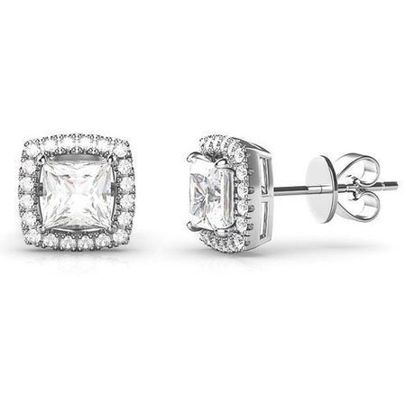 Lesa Michele Halo Cubic Zirconia Square Earrings in Sterling Silver