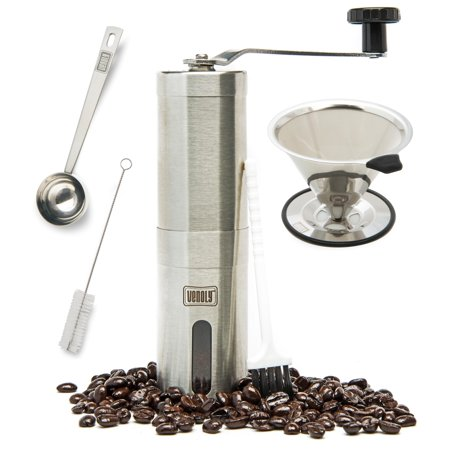 Brushed Stainless Steel Spoon (Manual Coffee Grinder and Dripper Set with Bonus Spoon and Cleaning Brush – Stainless Steel )