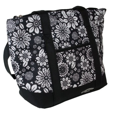 Hampton's Cool Black Flowers - Cooling Iinsulated Lunch Bag/ Purse with Large Cold Pack Size:10inch X 5inch X 10inch Cools for up to 5 Hours, No ice or blue ice.., By Hamptons Cool](Hampton Halloween Hours)