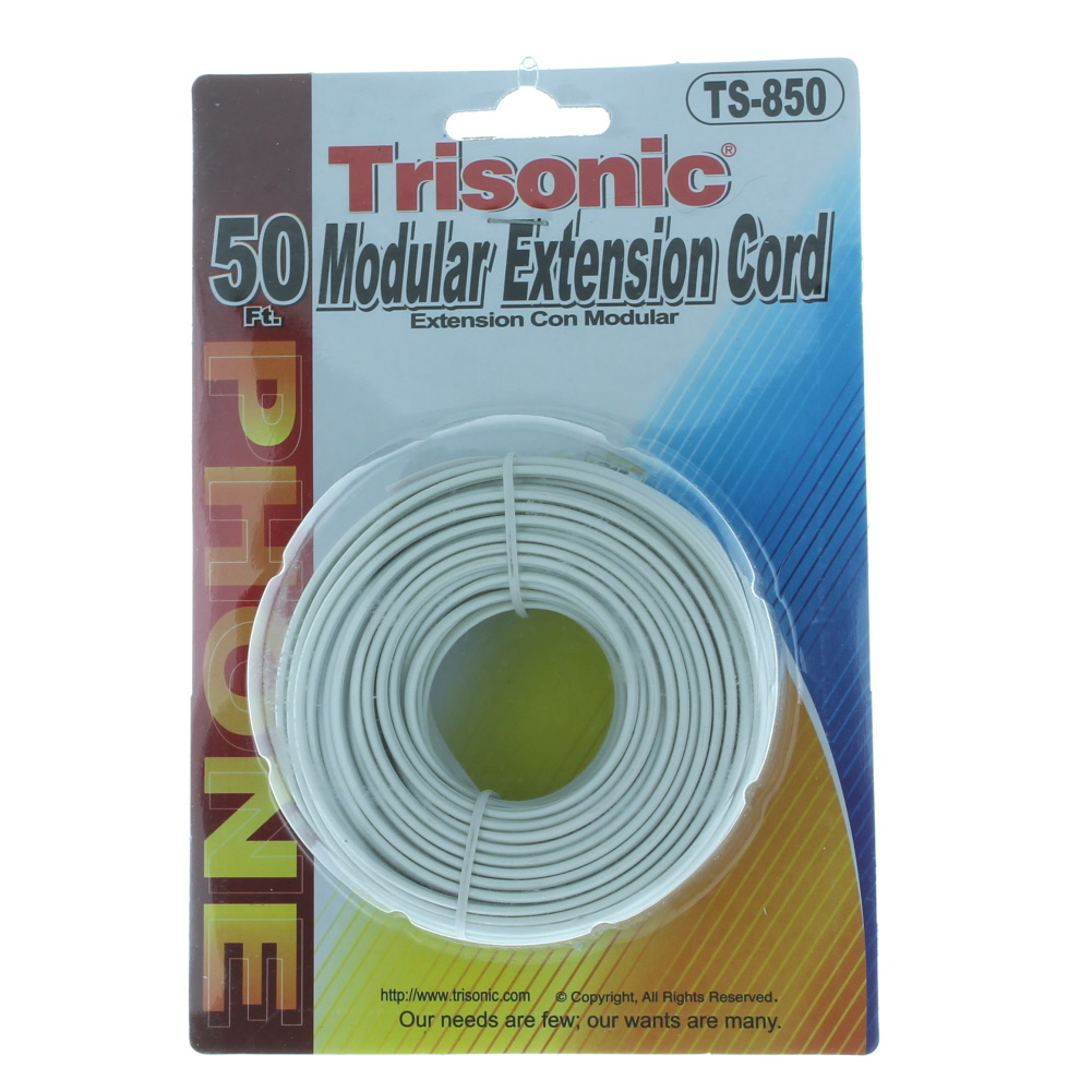 50 Ft White Modular Extension Cord Telephone Cable Trisonic