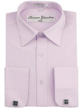 f1f3e7978bc8 Product Image Roman Giardino Men's Regular Fit Long Sleeve Button Dress  Shirt Adjustable Cuffs W