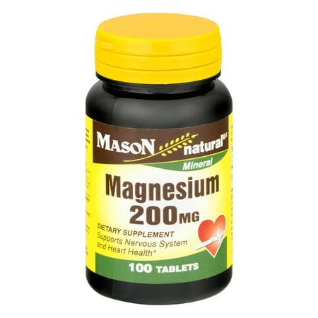 Mason Natural Magnesium - Mason Natural Magnesium Tablets, 200 mg, 100 Ct