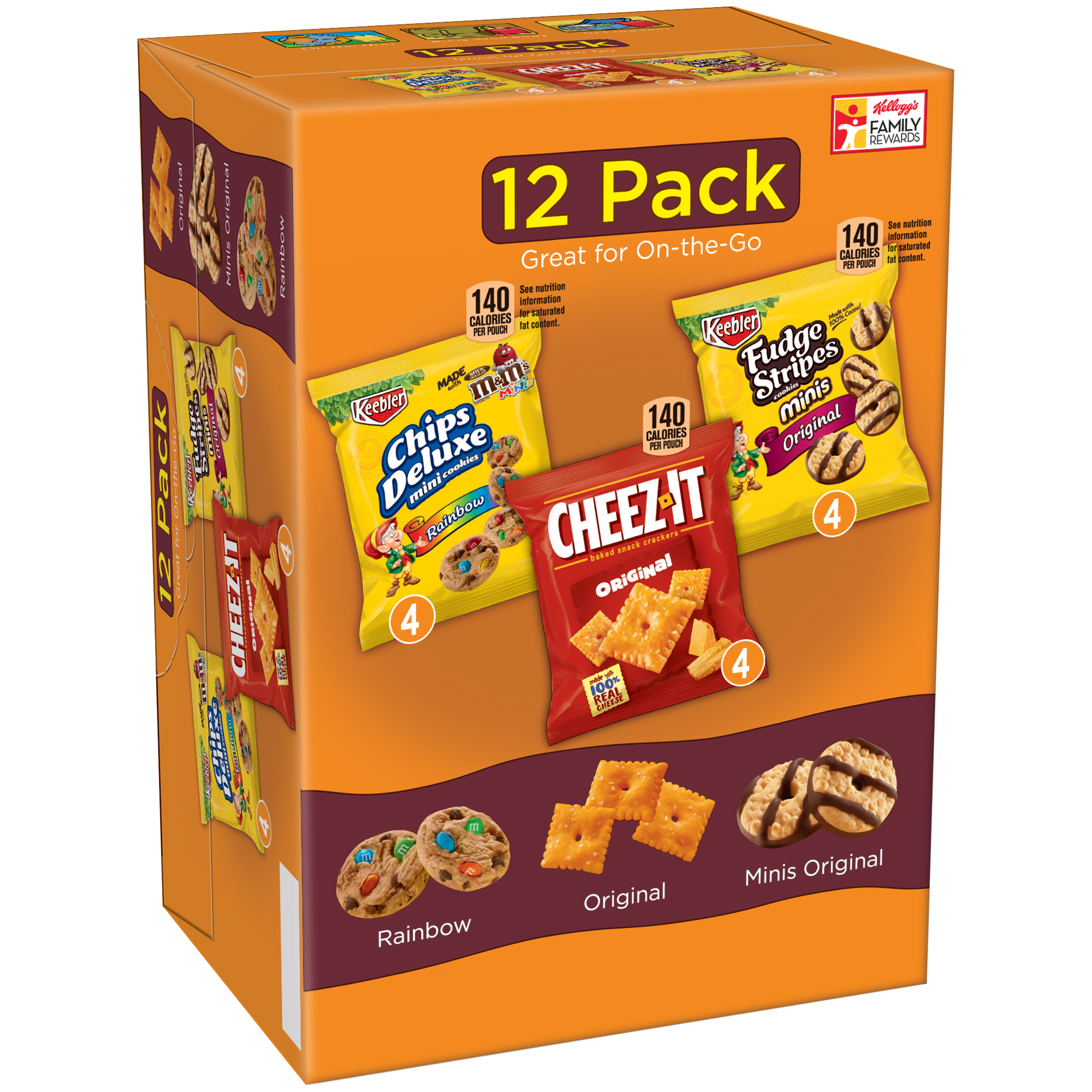 Keebler® Chips Deluxe® Cheez-It® Fudge Stripes™ Variety Pack Snacks 12 oz. Box